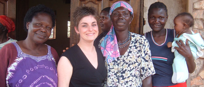 Professor Joanna Quinn with Ugandan Women